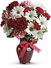Hugs and Kisses Bouquet with Red Roses Flowers