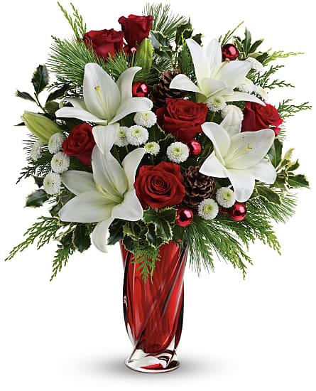 Teleflora Christmas Catalog 2021 Christmas Swirl Bouquet Flowers Christmas Swirl Flower Bouquet