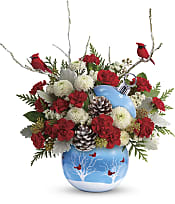 Cardinals In The Snow Ornament Flowers