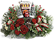 Thomas Kinkade's Festive Fire Station Bouquet Flowers
