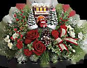 Thomas Kinkade's Festive Fire Station Bouquet Flowers