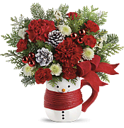 Send a Hug Snowman Mug Bouquet  Flowers