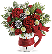 Send a Hug Snowman Mug Bouquet by Teleflora Flowers