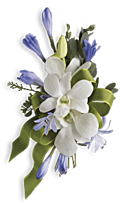 Blue and White Elegance Corsage Flowers