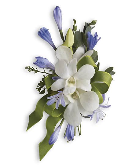 blue and white elegance corsage flowers blue and white elegance