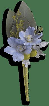 Hero's Blue Boutonniere Flowers