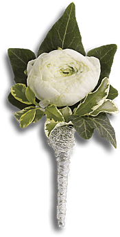 Blissful White Boutonniere Flowers