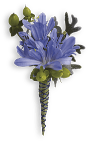 Bold and Blue Boutonniere Flowers