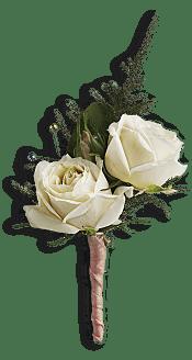 White Tie Boutonniere Flowers