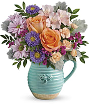 Busy Bee Pitcher Bouquet Flowers