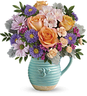 Busy Bee Pitcher Bouquet DX Flowers