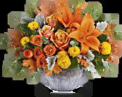 Teleflora's Golden Bounty Centrepiece Flowers