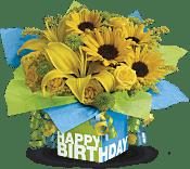 Sunny Birthday Present Flowers
