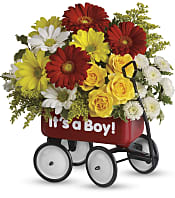 Baby's Wow Wagon  - Boy Flowers
