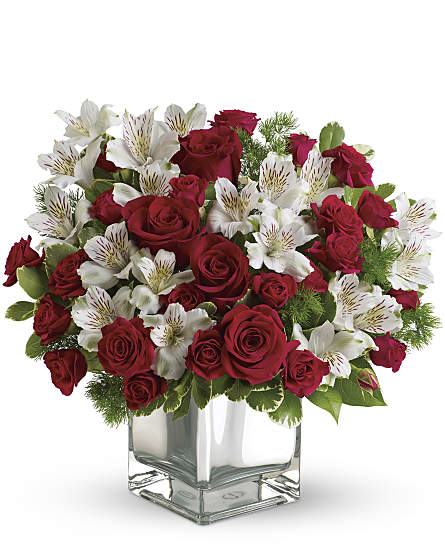 Christmas Flower Arrangements.Christmas Blush Bouquet