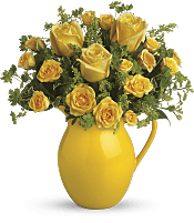 Sunny Day Pitcher of Roses Flowers