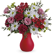 Kissed With Crimson Bouquet Flowers