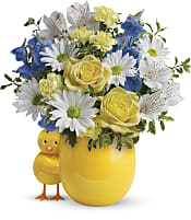 Sweet Peep Bouquet - Baby Blue Flowers
