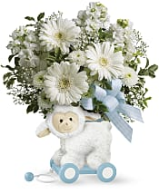 Sweet Little Lamb - Baby Blue Flowers
