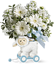 Teleflora's Sweet Little Lamb - Baby Blue Flowers