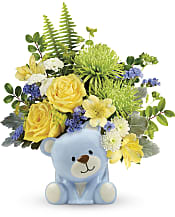 Joyful Blue Bear Bouquet Flowers