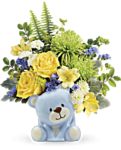 Teleflora's Joyful Blue Bear Bouquet Flowers