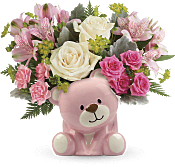 Precious Pink Bear Bouquet Flowers