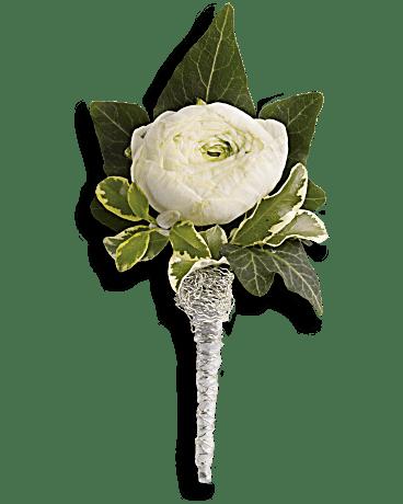 White Garden Rose Boutonniere blissful white boutonniere - teleflora
