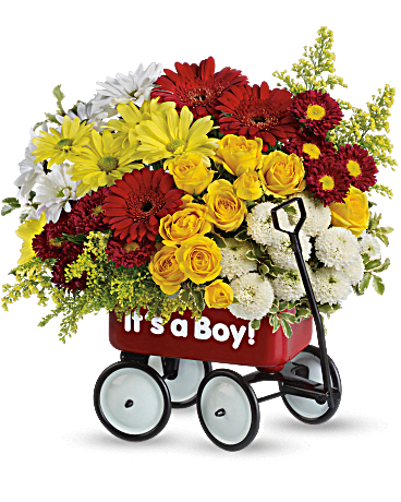 baby's wow wagon by teleflora  boy flower arrangement  teleflora, Beautiful flower