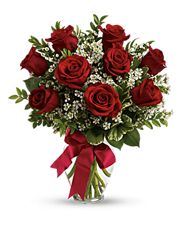 Red Garden Rose Bouquet thoughts of you bouquet with red roses - teleflora