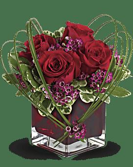 Bouquet Pensées affectueuses de Teleflora avec roses rouges