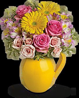 Arrangement floral pichet Journée ensoleillée de charme de Teleflora