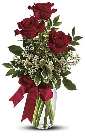 Bouquet Pensées pour toi avec roses rouges