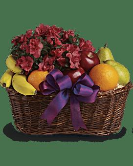 Panier cadeau de fruits et fleurs