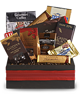 Chocoholics, rejoice! This decorative wooden gift box is chock full of luxurious chocolates from the likes of Godiva and Ghirardelli, plus decadent coffee and nuts. A divine gift for your favorite chocoholic. Luxury Bouquets - Luxurious Indulgence - Multi - Flower Delivery By Teleflora