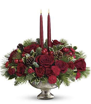 Mercury Glass Bowl Bouquet Flowers