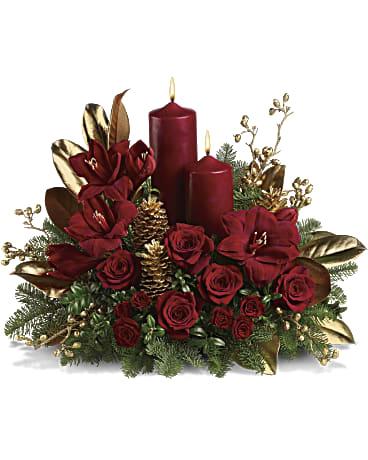 Candlelit Christmas Flower Arrangement
