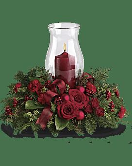 Arrangement floral Centre de table Lueur pour les fêtes