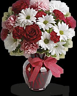 Bouquet Câlin et bisous avec roses rouges
