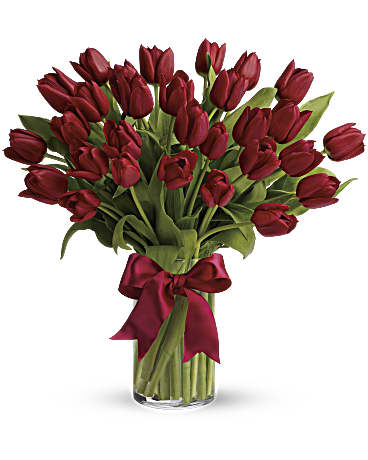Radiantly Red Tulips Bouquet Teleflora