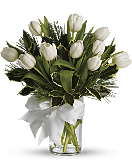 Tulips And Pine Bouquet