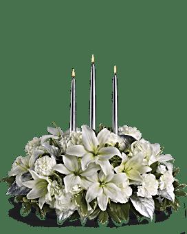 Centre de table bouquet Élégance argentée