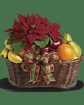 Fruit and Poinsettia Basket Bouquet