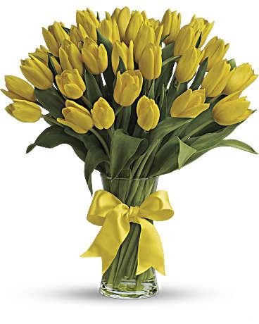 Sunny yellow tulips bouquet teleflora sunny yellow tulips bouquet mightylinksfo Gallery