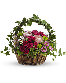 Browse sympathy flower baskets for the home teleflora quick view fairest of all basket arrangement mightylinksfo