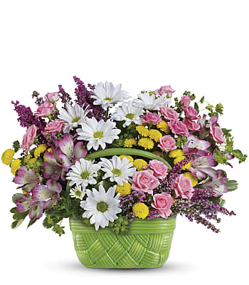 Teleflora's Basket Of Beauty Bouquet Flowers
