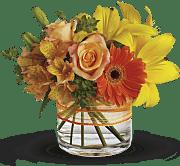 Orange alstroemeria, roses and gerberas