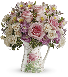 Fill My Heart Bouquet in a ceramic pitcher