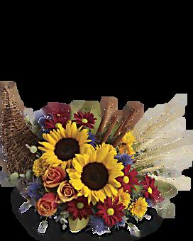 Classic Cornucopia Flower Arrangement
