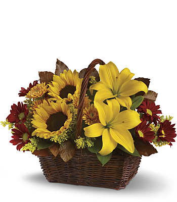 Golden Days Basket Flowers